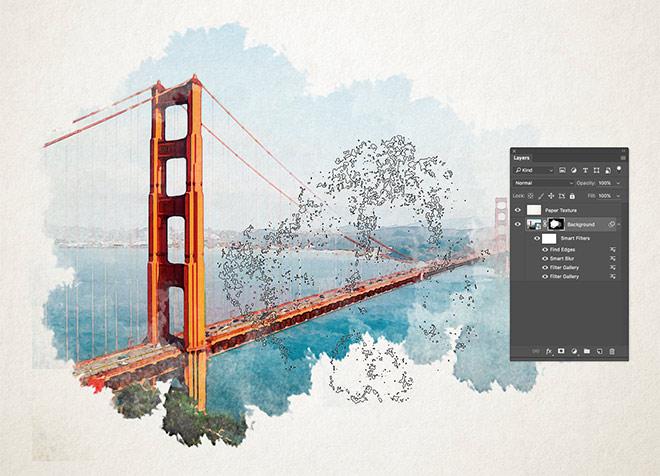 【フォトショ】イラスト背景に使える!水彩画風エフェクトの作り方